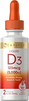 Liquid Vitamin D3 | 5000 IU 125 mcg | 2 oz | Vegetarian Non-GMO and Gluten Free Supplement | Vitamin D Liquid Drops for Adults | by Carlyle