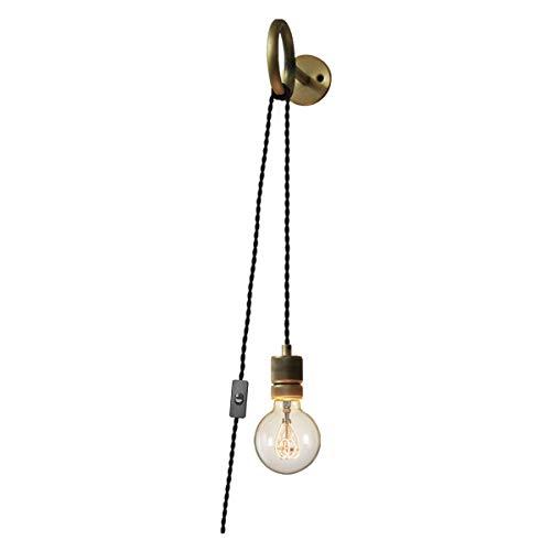 VOMI Apliques de Pared Interior Retro Lámpara de Pared Alambre con Interruptor y Enchufe Simplicity E27 Soporte Anillo Metal Estar Ajustables Luces Decorativas para Barra Pasillo (Sin Bombilla)