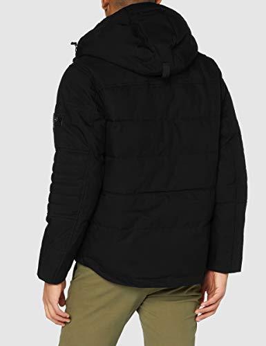 Tommy Hilfiger Removable Fur Hooded Bomber Chaqueta, Black, XL para Hombre