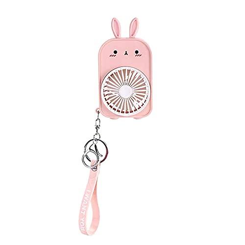 Llavero Ventilador eléctrico, llavero Mini Cartoon portátil de dos velocidades recargable suave lindo conejo ventilador circulador de aire recargable portátil pequeño USB (rosa)