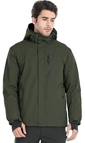 FREE SOLDIER Men's Waterproof Ski Snow Jacket Fleece Lined Warm Winter Rain Jacket with Hood(Army Green,L)