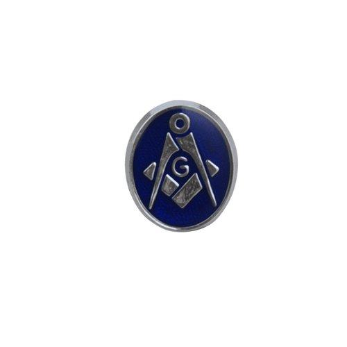 Argent Fin - 925/1000-12x10mm ovale polymérisation à froid émail maçonnique par 'G' épingle à cravate