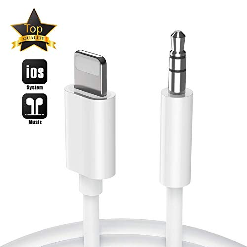 Aux Cord for iPhone X Car Audio & Video Input Cables Compatible with iPhone 11 XR/XS/XS MAX /8/8 Plus/7/7 Plus/ 6/6 Plus iPod/iPad Home Stereo/Headphone/Speaker Support All iOS- White