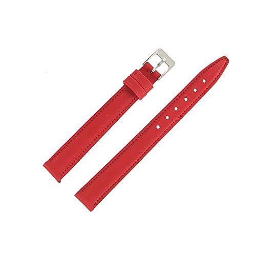 Shopkdo - Correa de reloj de piel, 14 mm, color rojo