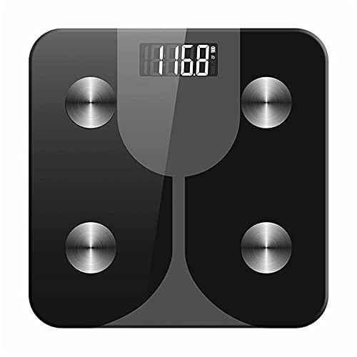 Básculas de Grasa Corporal Inteligentes Bluetooth Smart Cuerpo Escala De Grasa Escala De Peso Corporal Electrónica Fácil de Usar (Color : Black, Size : 28x28cm)