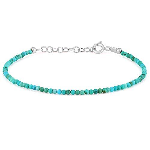 Gemshiner Mujer Hombre Unisex plata de ley 925 redonda Turquoise