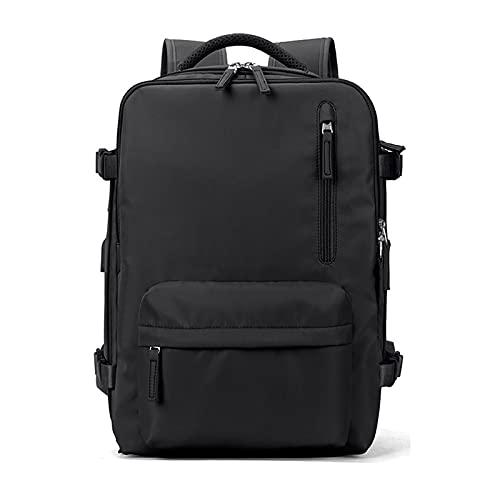PORRASSO Donna Zaino PC Portatili Zaino da Viaggio Grande con Porta USB Università Business Lavoro Zaini per 16 Inch Laptop Nylon Impermeabile Backpack Nero
