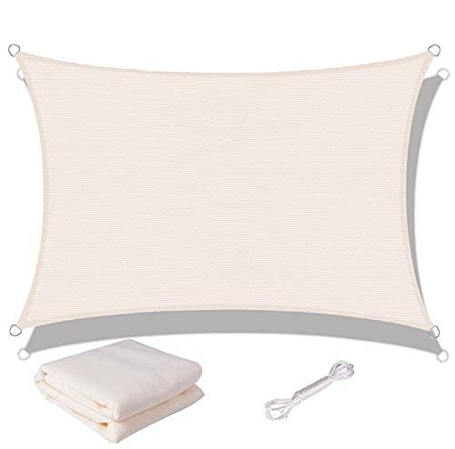 SUNNY GUARD Toldo Vela de Sombra Rectangular 2x3m HDPE Transpirable protección UV para Patio, Exteriores, Jardín, Color Crema