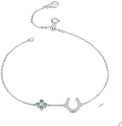 Pulsera Feng Shui Bead Pulsera de plata esterlina para mujeres, damas 925 pulsera de plata langosta ajustable broche zircon brazalete exquisito afortunado herradura joyería regalo de cumpleaños para p