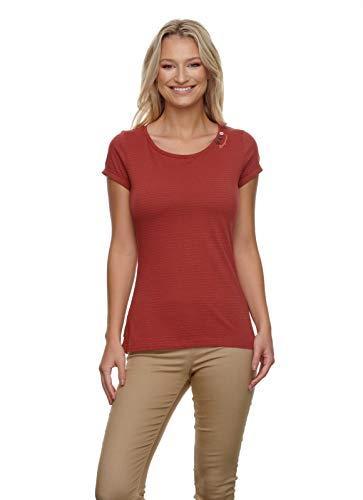 Ragwear Damen FLORAH C Organic T-Shirt Rundhals, Frauen Shirt,Oberteil,Kurzarm,Rundausschnitt,Regular Fit,Rot,XL