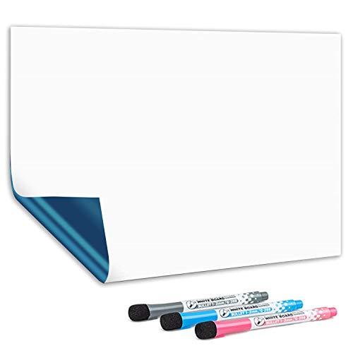 CUHIOY Tableau Blanc Magnétique A3 Effaçable à Sec Auto Adhésif sur Surfaces Lisses, Nouvelle Technologie Antitache, Maison Cuisine Réfrigérateur Liste de Courses et Tableau d'Affichage, 3 Stylos