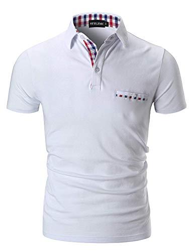 STTLZMC Casual Polo Hombre Mangas Corta Camisetas Deporte Algodón Clásico Plaid Cuello,Blanco,M