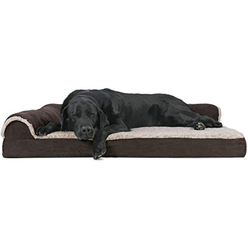 Furhaven Pet Dog Bed - Deluxe Orthopedic Two-Tone Plush and Suede L Shaped Chaise Lounge Living Room Corner Couch Pet Bed with Removable Cover for Dogs and Cats, Espresso, Jumbo