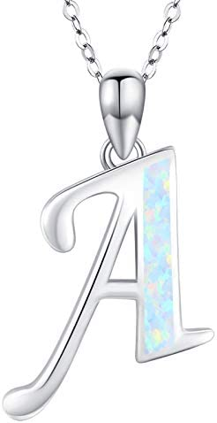 Initial A Necklace 925 Sterling Silver Monogram Letter Pendant with Created Opal A Z Alphabet product image