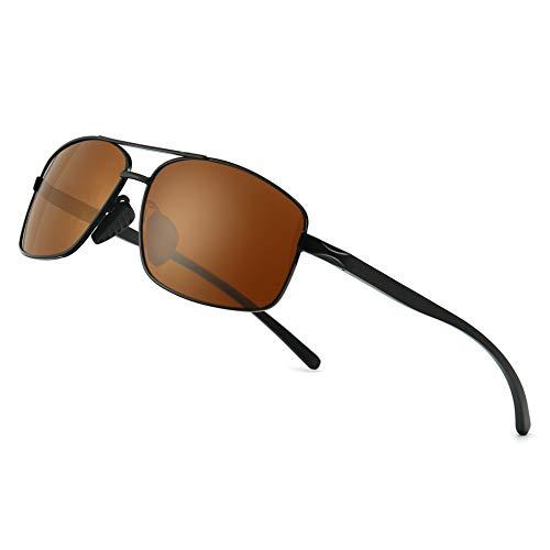 SUNGAIT Ultra Lightweight Rectangular Polarized Sunglasses UV400 Protection (Black Frame Brown Lens, 62) Metal Frame SGT458 HEKC