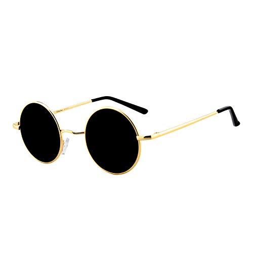 BangLong Gafas de sol vintage polarizadas gafas de sol redondas retro unisex (Negro+Oro)