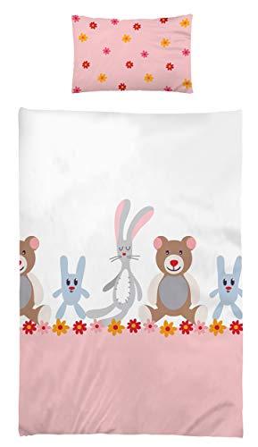 Kinderbettwäsche Babybettwäsche 100x135 cm 40x60 cm 100% Microfaser Kleinkinder Bettwäsche Set Bärchen Hase Altrosa Beste Freunde