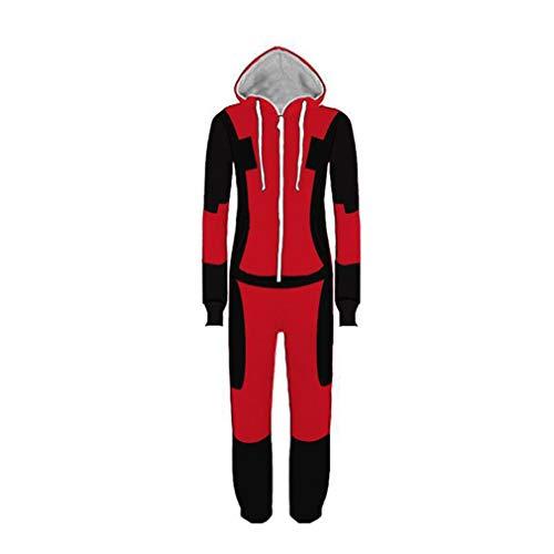 LINLIN Deadpool una Sola Pieza Baño Homewear Niños Ropa de Dormir Ropa de Dormir Superhero Body Pijama de Cosplay Que Juega al Juego de Deporte Pijamas,Red-S(148~158cm