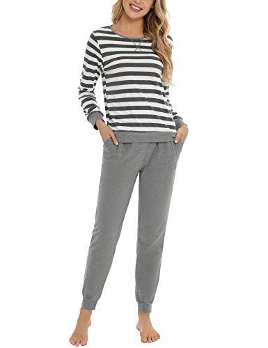 Hawiton Pijamas para Mujer Invierno, Pijama de 95% Algodon de Largo, cómodo Camiseta a Rayas y Pantalones de Color Puro con cordón y Bolsillos Ropa de Dormir 2 Piezas