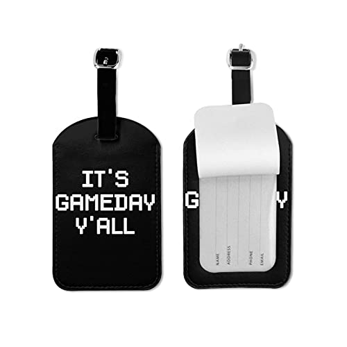 BVlleorueoi Etiquetas de equipaje de cuero para maletas con tarjeta de identificación de nombre para viajes It's Gameday Y'all etiquetas de equipaje para hombres, niños y mujeres