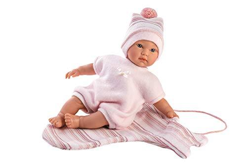 Llorens LL30006 30006 Puppe Cuquita, mit blauen Augen und weichem Körper, Babypuppe inkl. rosa Stampler und Wickeltuch, Puppenmädchen 30cm, Mehrfarbig