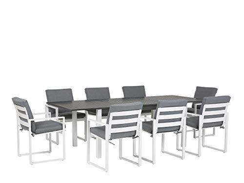 Beliani Gartenmöbel Set im Marine Stil mit 8 Stühlen grau/weiß Aluminium Pancole