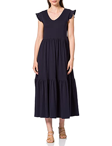Only Onlmay Life S/S Frill Calf Dress Jrs Vestito, Blu (Night Ske), XS Donna