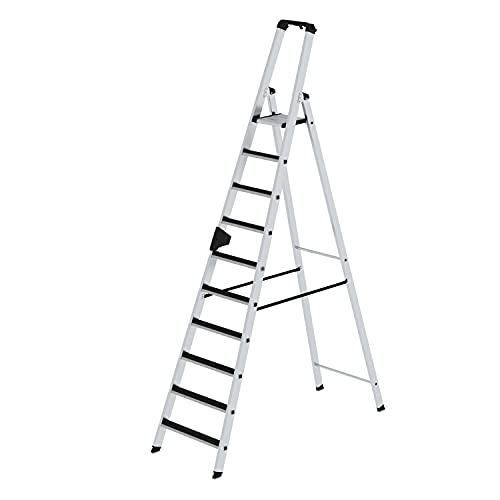 Stufen-Stehleiter - einseitig begehbar, geriffelt - 10 Stufen - Alu-Leiter Alu-Stufenstehleiter Aluleiter Aluleitern Bockleiter Leiter Stehleiter Stufenleiter