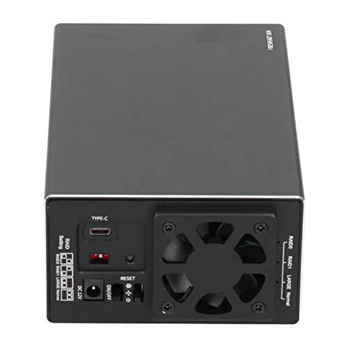 Caja de disco duro MAIWO con ventilador de refrigeración, posición de disco doble, caja de disco duro con ranura base y estación espacial de almacenamiento vertical, con adaptador de corriente(negro)