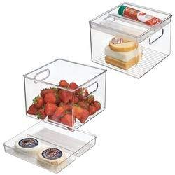 mDesign Juego de 2 cajas organizadoras – Guardatodo para nevera – Contenedor en plástico resistente sin BPA – Perfecto como fiambrera y para conservar los alimentos frescos – transparente