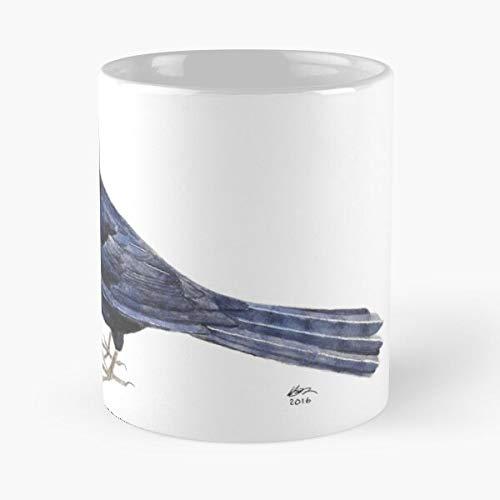 Seeyo Watercolour Bird Wildlife Nature Watercolor Blackbird Black Blue Best 11 oz Kaffeebecher - Nespresso Tassen Kaffee Motive