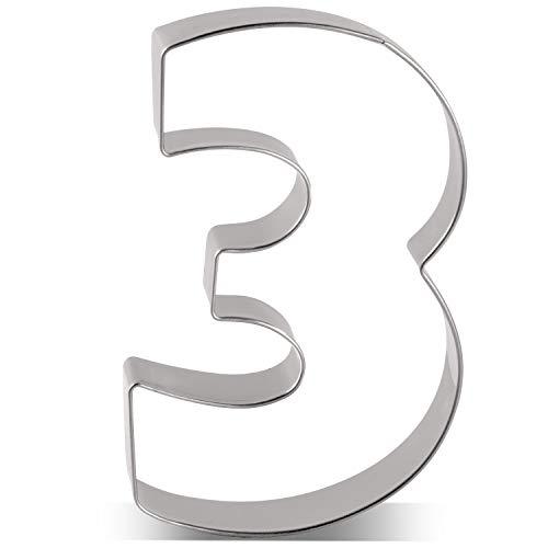 KENIAO - Tagliapasta per biscotti, numero 3, per compleanno, anniversario, giorno speciale, 6,1 x 9,1 cm, in acciaio INOX