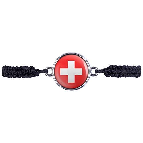 Mylery Armband mit Motiv Schweiz Suisse Switzerland Flagge Silber 16mm