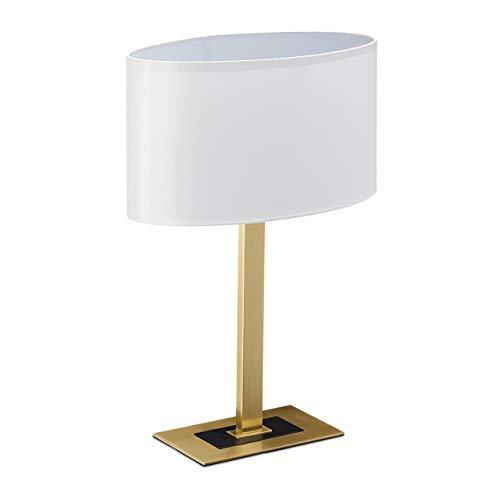 Relaxdays Lámpara para mesita de noche, elegante lámpara de mesa con cable, casquillo E14, lámpara ovalada, 48 x 33 x 19,5 cm, latón/blanco