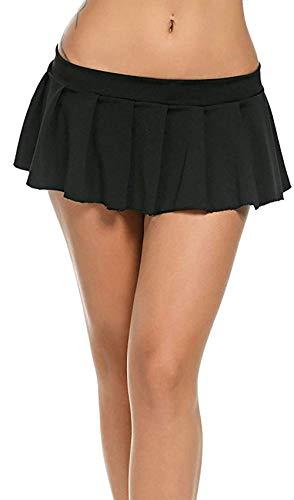 Minirock - kurzer Damen Plissee Rock Club Wear (schwarz, L)