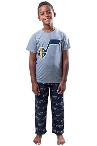 Ultra Game NBA Utah Jazz Youth 2 Piece Pjs Lounge Pants & Tee Set, Team Color, 10/12