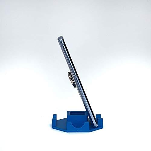 Suporte de Mesa para Celular ou Tablet serve em todos os aparelhos - Modelo Octagonal (Azul)