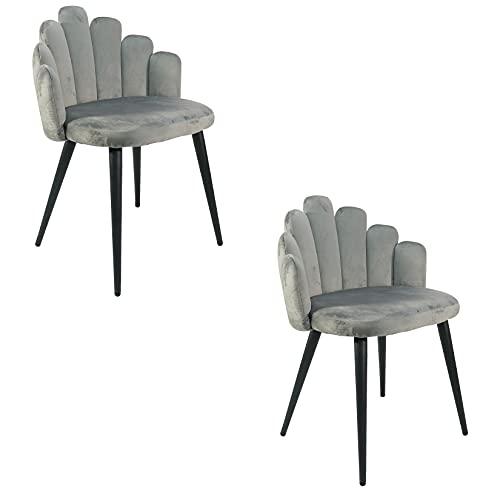 Un set di 2 poltrone, design a forma di dito, sedile in flanella, adatto per sala da pranzo, soggiorno, camera da letto, centro commerciale, ecc. (grigio)