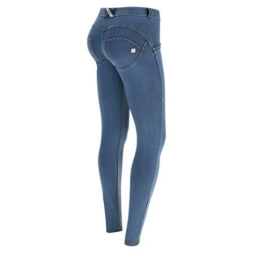 FREDDY Pantalone WR.UP® Skinny Vita e Lunghezza Regular in Denim Chiaro - Jeans Chiaro-Cuciture Gialle - Extra Small