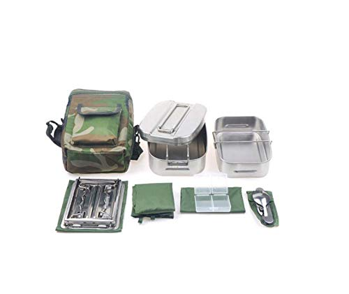 JXS-outdoor Caja de Almuerzo de Acero Inoxidable para Acampar. Caja de Almuerzo portátil. El Almuerzo se Puede Usar para Comidas de Fuego Abierto.
