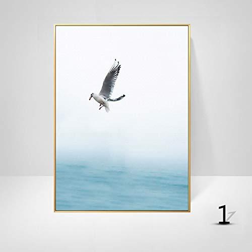 WSNDGWS Art schilderijen Nordic stijl mooie zeegezicht strand eenvoudige letters zeewater vogel schilderij kern slaapkamer kleine verse decoratieve schilderij zonder fotolijst 30x40cm A2