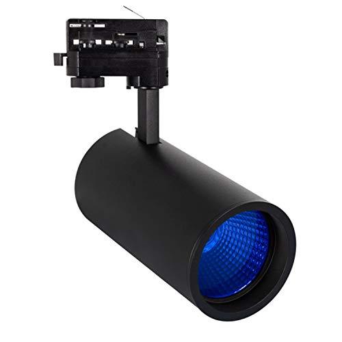 Faretto LED New Angelo 30W LIFUD Nero con Vetro Colorato per Binario Trifase Sistemi di illuminazione a cavo e su binario (Azzurro)