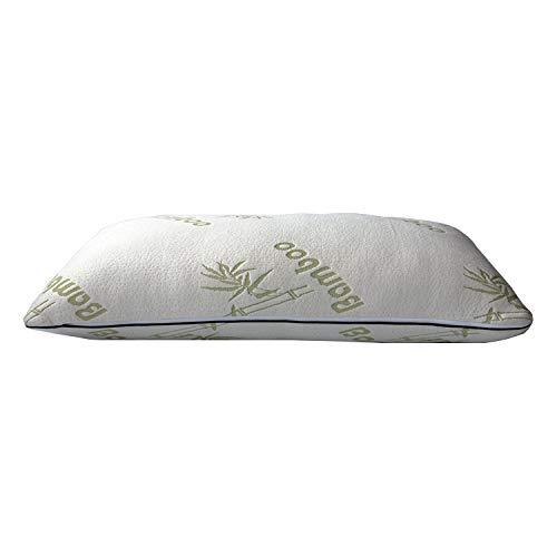 Bergmann festes Bambus Kopfkissen, höhenverstellbar, etwas hoch (15 cm), Schlafkissen aus Visco-Gelschaum (1,2 Kg. Memory Foam) 40 x 80 x 15 Rücken- und Seitenschläfer geeignet