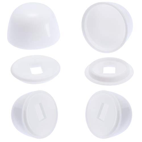 Canomo 4 Packs Universal Plastic Round Toilet Push-On Bolt Caps, Almond, White, 0.85 Inch Height