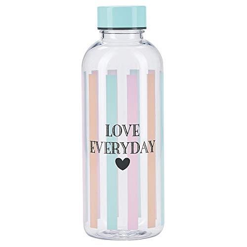 Miss Étoile - Trinkflasche - Kunststoff/BPA und Phalatfrei - Love Everyday - Bunte Streifen - 650ml