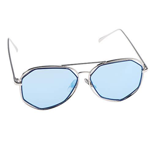 Bonarty Gafas de Sol de Metal con Espejo para Mujer, Novedosas Sombras, Protección UV 400 - Azul, como se describe