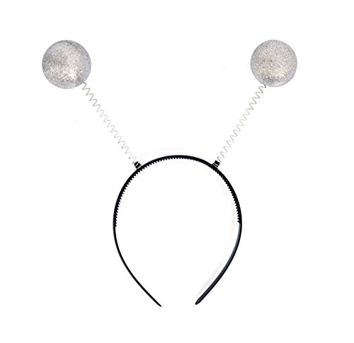 NNasell Crazy Space Martian Antenna Headband Boppers - Party Accessory Costume addon (Silver)