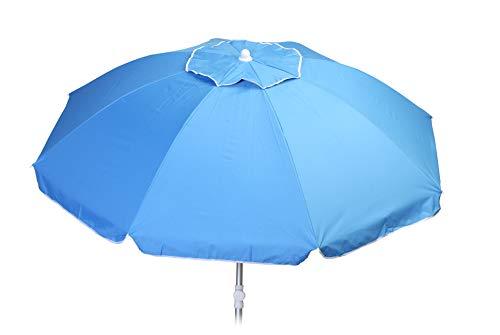 Sombrilla Playa Aluminio 200cm Proteccion UV varillas fibra vidrio techo antiviento tejido reforzado funda transporte con asa