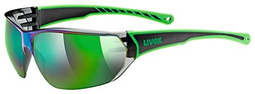uvex Unisex– Erwachsene, sportstyle 204 Sportbrille, black green/green, one size