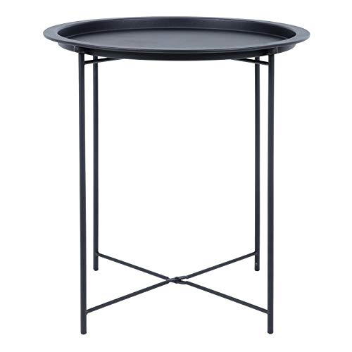 Hodge and Hodge Round Metal Folding Side Table Tray Top Light Portable Coffee Night Stand Black